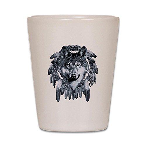 Shot Glass White of Wolf Dreamcatcher - Dream Catcher Shot Glass