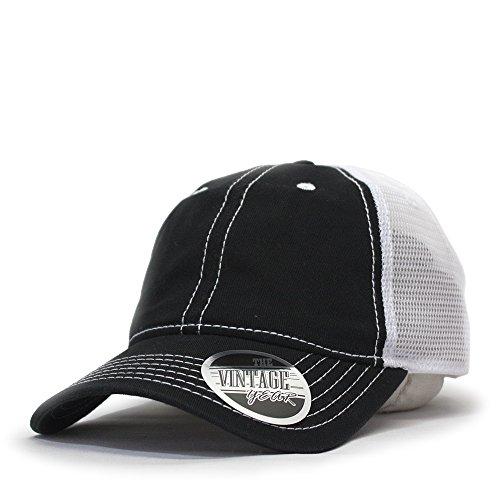 Washed Cotton Low Profile Mesh Adjustable Trucker Baseball Cap