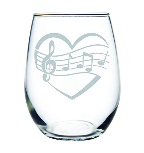 Music And Gifts Accessories - Heart, Music 15 oz. stemless wine glass