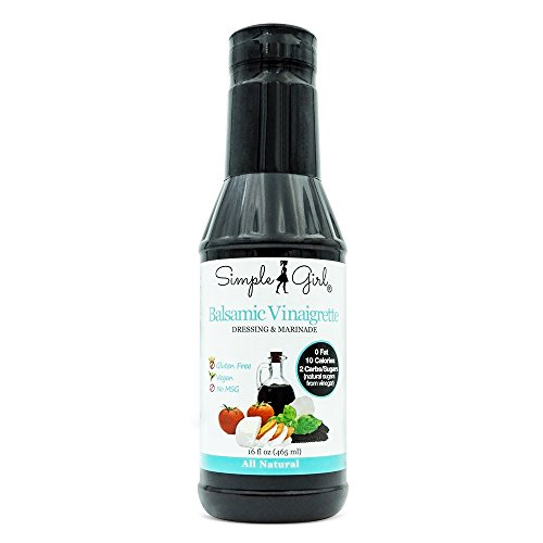 Simple Girl Balsamic Vinaigrette (Made with Organic Ingredients) 16oz - Fat Free Salad Dressing and Marinade - Vegan - Low Calorie/Sugar - Free From Gluten/MSG - 1 Bottle (16 - Mozzarella Low Fat