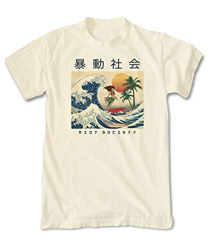 (Riot Society Wave Rider Mens T-Shirt - Cream, Small )