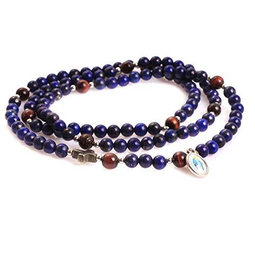 GEM-inside Bracelet Blue Lapis Lazuli Red Tiger Eyes Handmade Christian Catholic Cross Prayer Rosary Unisex Fashion Jewelry 30