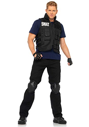 [Leg Avenue Men's 4 Piece SWAT Costume, Black, One Size] (Swat Vest Costume)