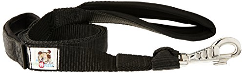 CuteNFuzzy Padded Double Handle Overlay Leash with Snap Design-Warranted, Black/Pink, 1'' x 6' by cuteNfuzzy