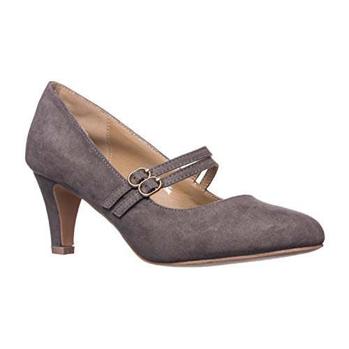 (Riverberry Women's Mila Chunky, Mid Heel Mary Jane Pump Heels, Grey Suede,)