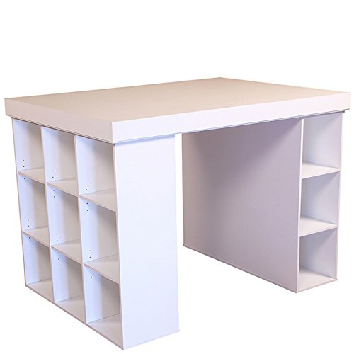 Venture Horizon Project Center Desk with Bookcase and 3 Bin Cabinet-White