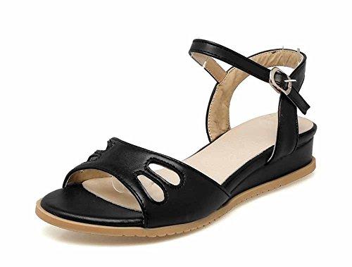 SHINIK Sandalias de cuña de las mujeres del dedo del pie abierto de la manera del verano zapatos casuales del talón bajo talla 40-43 Negro