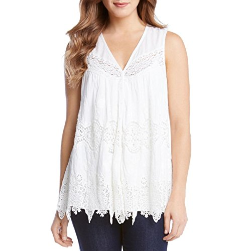 Karen Kane Women's Embroidered Lace Top, Off/White, Small