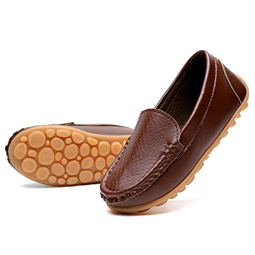 Brown Girls Sneakers (KONHILL Casual Loafers Shoes Boys Girls Moccasin Slip on Slippers Boat-Dress Shoes/Sneaker/Flats, Brown, 27)