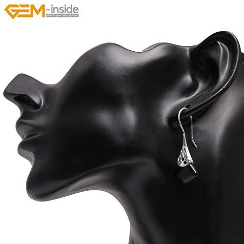 (Square Semi-Precious Stone Dangle Earrings | Tibetan Silver Hooks Earrings for Women | Trinket Jewelry (Black Agate))