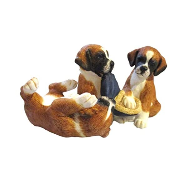 Three Boxer Pups Playing Figurine by Fine Border Arts Retired 2007