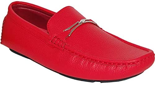Krazy Shoe Artists Red Suede Look Upper Mens Driver Loafers