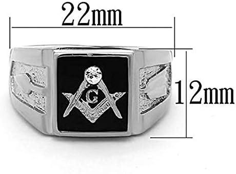 Freemason Masonic Ring G Fraternity Diamond Crystal Ring Stainless Steel Mens Wedding Band Ring Biker Ring Silver Ring Vintage Mason Rings