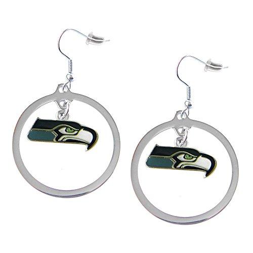 NFL Seattle Seahawks Charm Hoop Earring Set - Seahawks Earrings