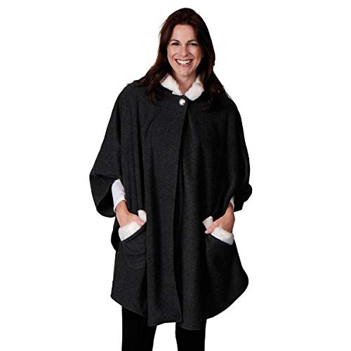 (Le Moda Women's Pleated Poncho with Shawl Collar | Winter Collection | One Size Fits All (ONE SIZE,)