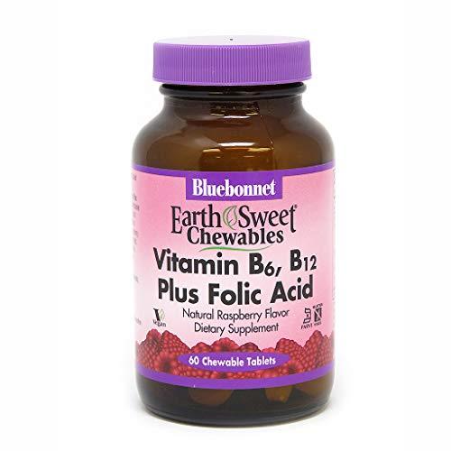- Bluebonnet Nutrition Earth Sweet Vitamin B6, B12, Plus Folic Acid Chewable Tablets, Vegan, Vegetarian, Gluten Free, Soy Free, Milk Free, Kosher, 60 Chewable Tablets, Raspberry Flavor