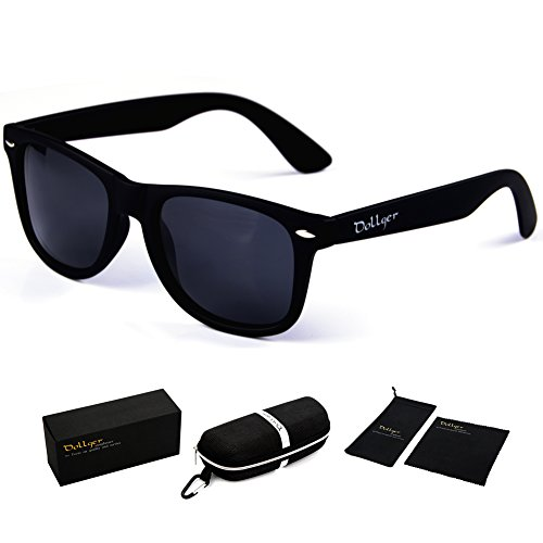 Dollger Classic Wayfarer Sunglasses Polarized Matte Black Frame Retro - Mens 1960s Sunglasses