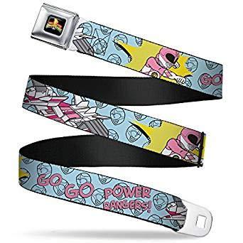 Pink Power Ranger Belt Buckle (Buckle-Down Seatbelt Belt - Pink Ranger Punch Pose GO GO POWER RANGERS! Baby Blue/Pink - 1.5