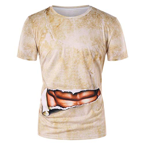 (Men Funny 3D T-Shirt Muscle Printing Fitness Top Elastic Short Sleeve Summer Blouse)
