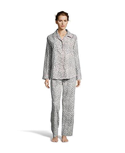 Pajamas Print Charm - Kathy Ireland Womens Lounge Cotton Button Down Animal Print Pajama Shirt and Pants Set Ivory Large