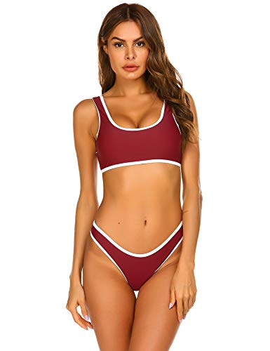 Swimsuit Sexy Two Piece Bathing Suit Sporty Style Padded Swimsuit High Cut Bathing Suit Wine Red XX-Large ()
