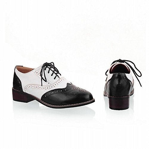 Mostrar Zapatos De Oxford Shred Mujeres Fashion Low Chunky Heel Black White
