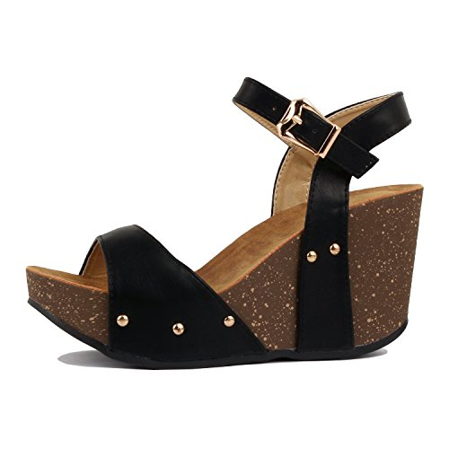 Everyday Sandal Faux Pu Wedge Heart Cork Women's Platform Guilty Comfortable Leather Blackv3 B8TWxzww1