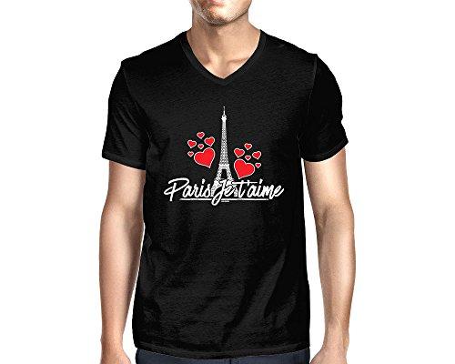 Men's Paris Je T'Aime V-Neck T-Shirt (Black, XX-Large)
