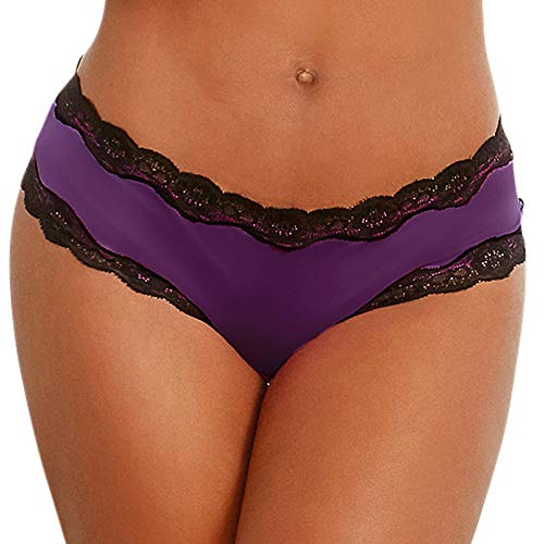Nacome Little Sexy Panties, Women Sex Lingerie Lace Boyshorts Briefs Open Crotch Thongs Knickers -Entice Your Lover (Purple, L)