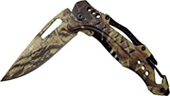 This spring assisted open folding knife with aluminum handle from MTech USA Ballistic (MT-A705G2 series) offers easy one handed deployment and a high quality 3CR13 stainless steel drop point blade. Once open, the blade locks securely into pla...