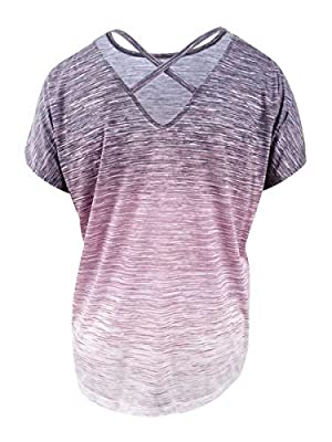 Ideology Women's Cross-Back Active Tee, Shimmer Pink Ombre, Medium