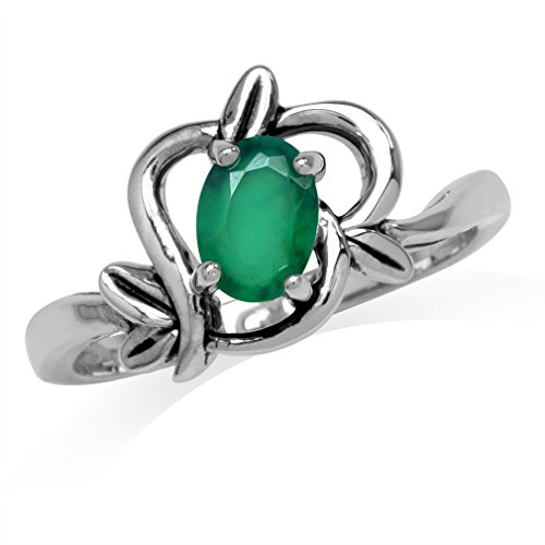 Oval Leaf Ring (Natural Oval Shape Emerald Green Agate 925 Sterling Silver Leaf Vintage Inspired Ring Size 8)