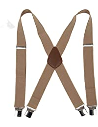 """Men' s X Back Suspenders with 4 Quality Controlled Clips & 1.4"""" Wide Braces & Heavy Duty"""