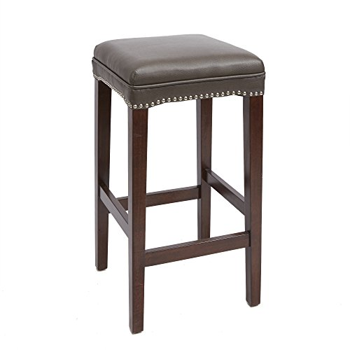 Dover Upholstered Wooden Saddle Stool, 29