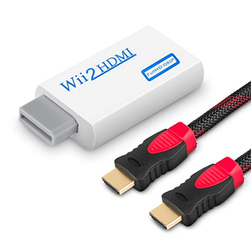 WOVTE Wii to HDMI Converter Real 720P 1080P HD Output Video Audio Converter Adapter with High Speed HDMI Cable 6 ft Supports All Wii Display Modes (Hdmi Converter Cable Tv)