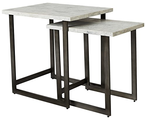 Park View by Bassett 6E06-0604 Embree Rectangular Nesting End Table Set with Marble Tops and Brushed Steel Frames, White Carrera Review