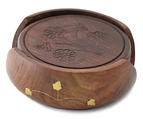 Nautical Hand Carved Wooden Drink Coasters Set of 6 in a Lotus Shaped Holder with Brass Inlay