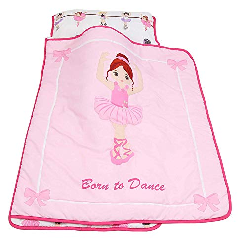 Everyday Kids Toddler Nap Mat with Removable Pillow -Born to Dance Ballerina- Carry Handle with Velcro Strap Closure, Rollup Design, Soft Microfiber for Preschool, Daycare, Kindergarten Sleeping Bag by Everyday