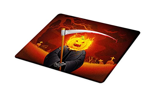 Lunarable Halloween Cutting Board, Pumpkin Grim Reaper Head with Burning Flames Character Scary Creature Night, Decorative Tempered Glass Cutting and Serving Board, Small Size, Orange -