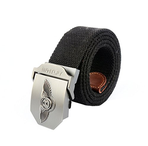 Nanxson(TM) Men's Outdoor tactics Canvas eagle logo buckle Belt Leather Inlay PDM0006 (black)