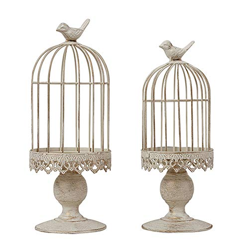 RuiXiang Open Birdcage Candle Holder,Vintage Candle Holder,Wrought Iron Decoration Birdcage Candle Holder,Wedding Romantic Birthday Supplies (Small) ()