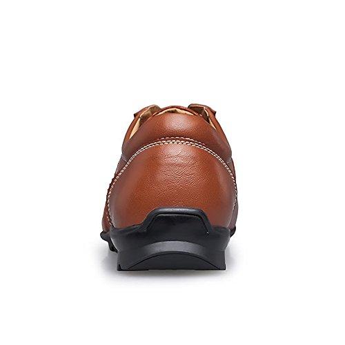 Men's Cachi Lace Solid Mocassini 45 Vamp British moda Uomo Cachi Scarpe Flat Driving Heel EU alla Style Up Loafer Color Splice Yajie 2018 da Dimensione Color shoes q7xwcvBX