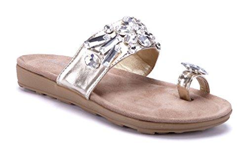 Schuhtempel24 Damen Schuhe Zehentrenner Sandalen Sandaletten Flach  Ziersteine Gold 1a5a5aae77
