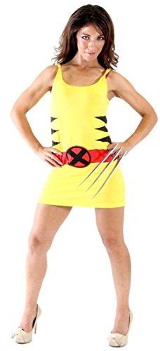 X-Men Wolverine Yellow Juniors Costume Tunic Tank Dress (Yellow) (Juniors X-Large) (Xmen Fancy Dress)
