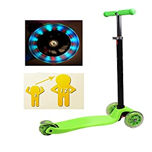 Dressffe Adjustable Light Up Wheels LED Kids Push Kick Scooter for Girls Boys (Green)