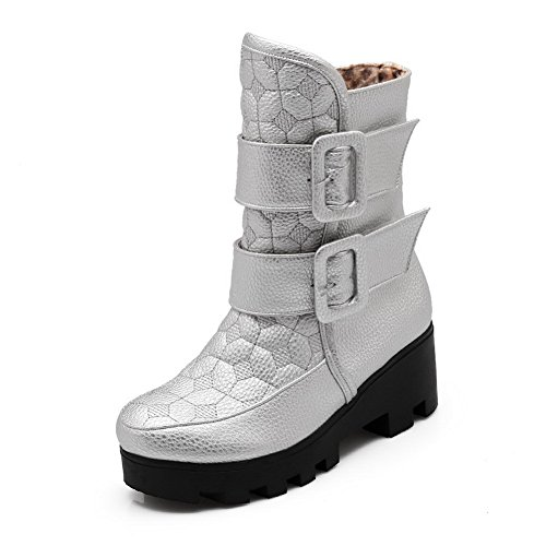 AdeeSu Womens Multilayer Metal Strap Mid-Calf Urethane Boots SXC02526 Silver GqvpiKcn