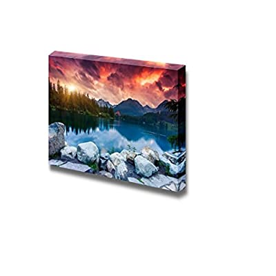 Beautiful Scenery Landscape Mountain Lake in National Park High Tatra Nature Beauty - Canvas Art Wall Art - 12