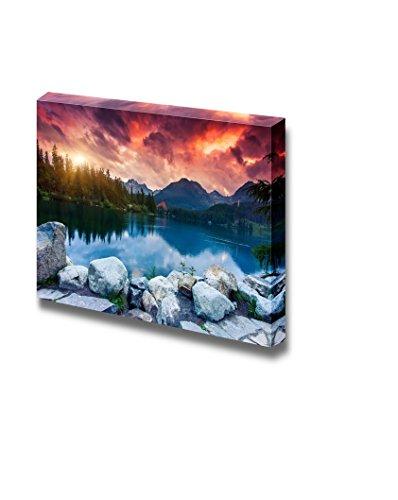 Beautiful Scenery Landscape Mountain Lake in National Park High Tatra Nature Beauty Wall Decor ation