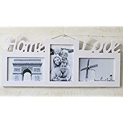 ChezMax Pure White Elegant Wall Hanger Home Decor Tabletop Living Room Portrait Frame Rectangle Wooden Collage 4x6(3PCS) Photo Frame