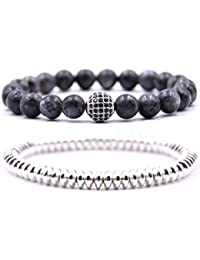 Mens Womens Black Bracelet Set Beads Bracelet for Men Handmade Jewelry Power Crystal Stretch Bracelets